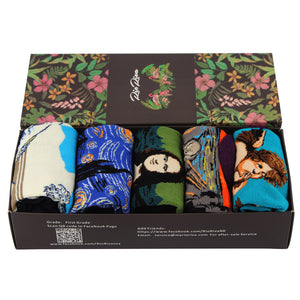RioRiva Men Dress Art Socks Novelty and funky Famous Painting Art Printed Pack of 5 (5 pairs/box)