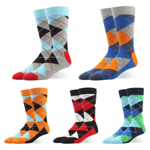 RioRiva Men Dress Socks Argyle -Big & Tall Patterned Colorful For Casual Home