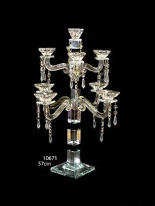 Candle Stand : Transparent Stand 9 Arms/Holders Height 57cm - 10671