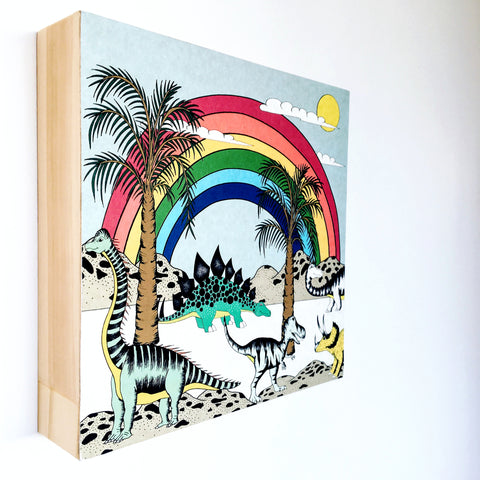 Block Mount Print / Rainbow Dinosaur Dreaming