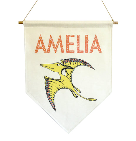 Personalised Dinosaur Name Banner - Pterodactyl