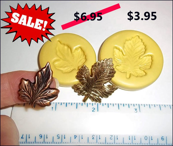 ON SALE - Leaf -Set/2 - Leaves Flexible Push Molds -  Food Safe Silicone  I112