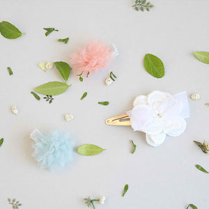 hydrangea non-slip grip pin & white flower tick pin set