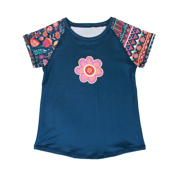 Boho Girl Blue Floral and Stripe Print Short Sleeve Shirt,Shirts,Chooze-The Little Clothing Company