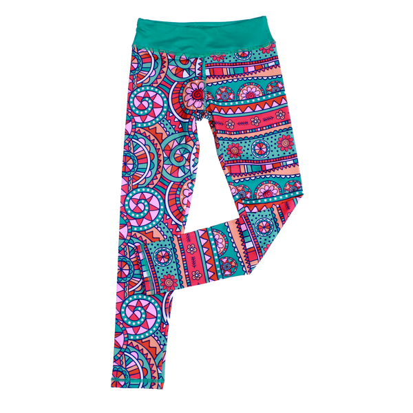 Kaleidoscope Flower Cropped Legging,Bottoms,Chooze-The Little Clothing Company
