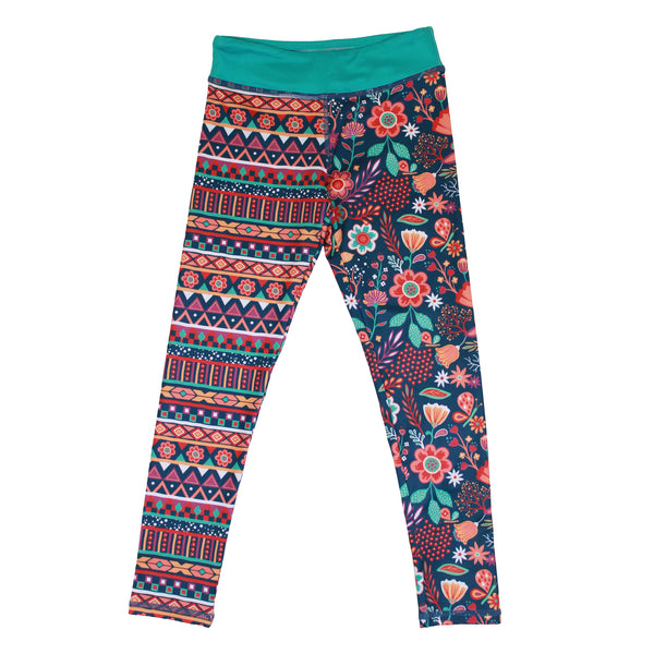 Boho Girl Floral and Stripe Print Splits Leggings,Bottoms,Chooze-The Little Clothing Company
