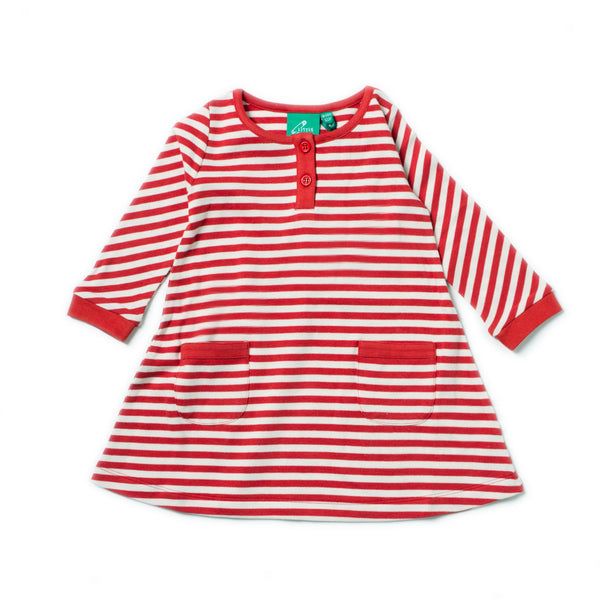 Baby and Girl's Red Stripe Organic Cotton Pocket Dress,Dresses,Little Green Radicals-The Little Clothing Company