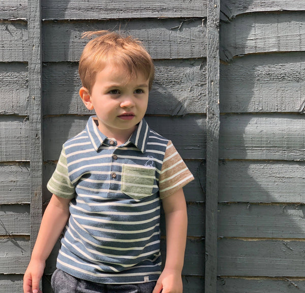 Boy's Blue and Green Stripe Rugby Polo Shirt,Shirts,Me and Henry-The Little Clothing Company