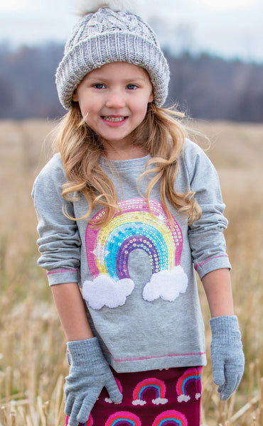 Rainbow Sequin Long Sleeve Tee,Shirts,Hatley-The Little Clothing Company