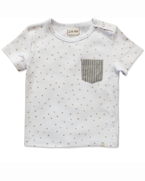 Baby and Child's Gold Star Short Sleeve Pocket Tee Shirt,Shirts,Me and Henry-The Little Clothing Company