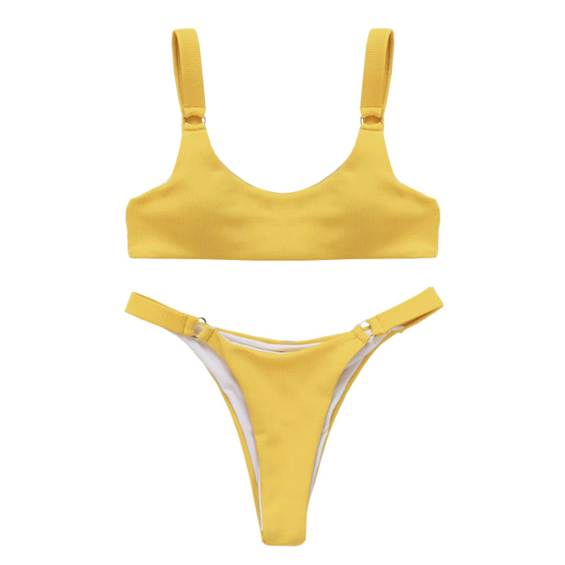Macy Ribbed Bikini Set - Yellow