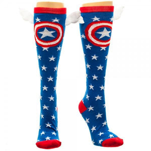 Socks - Marvel Captain America Star Knee High Socks With Wings