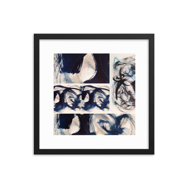 Blue Brush Strokes Abstract Print - Framed Photo Paper Poster