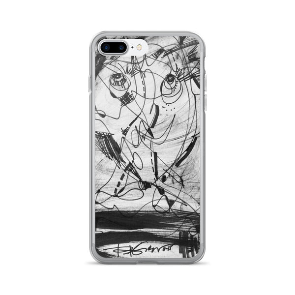 1511 Face Black White Drawing - iPhone 7/7 Plus Case, acrylic composite