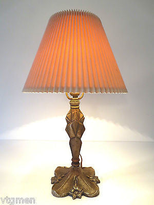 Antique Art Deco Cast Iron Table Lamp Light, Rewired & Working, Gold Patina, 20""