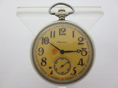 Vintage Nautical Pocket Watch, Molnija CCCP Open Face Watch, Maritime, Old Ship