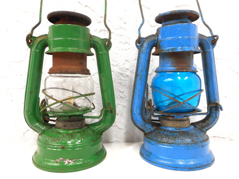 "Vintage Kerosene Oil Lanterns Blue and Green 7"", Winged Wheel No 350 Japan"