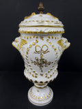 "Vintage Porcelain Urn 15"" Tall Porcelaine de Paris France, Gold Blowfishes"