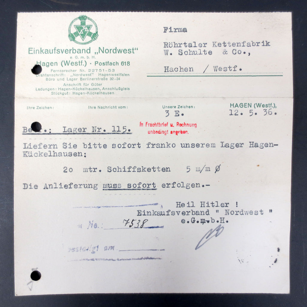 WWII Germany 1936 War Ship Boat Chain Factory Order & Stamp Marked Heil Hitler