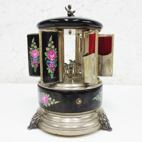 Vintage Reuge Swiss Music Box Lipstick Cigarette Holder, Doors Swivel, Carousel, Cherub, Mandolin