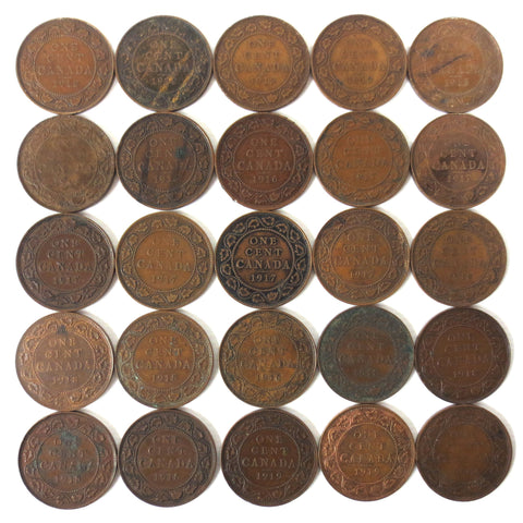 25 Coins Collection Lot of One 1 Cent Canada Coins 1912 1913 1916 1917 1918 1919