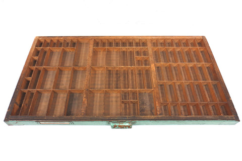 "Vintage Hamilton Print Letterpress Typeface Wood Drawer Tray 32X16"", 88 Sections"