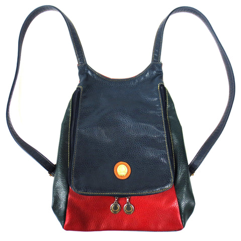Vintage Alfred Sung Backpack Purse Bag, Genuine Leather, Red Green Blue, 13X11""