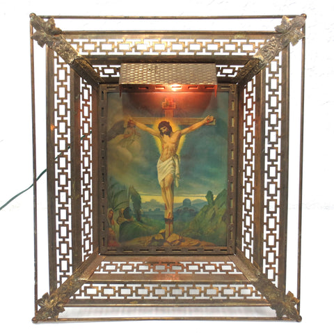 Antique Lighted 3D Jesus On Cross Resurrection 15X17 Ornate Filigree Metal Frame