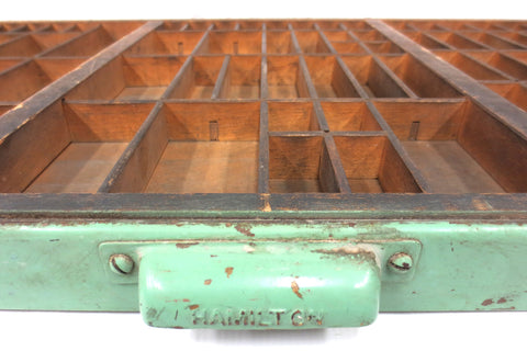 "Vintage Hamilton Print Letterpress Typeface Wood Drawer Tray 32X16"", 89 Spaces"