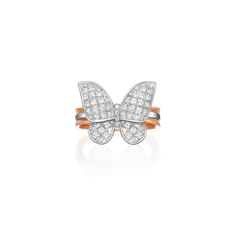 Butterfly collection 18k rose & white gold diamond ring