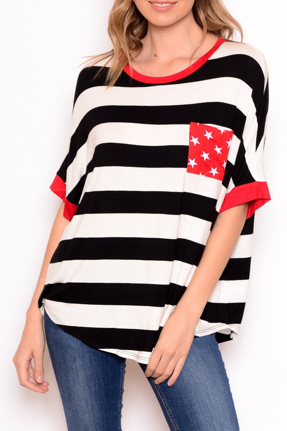 Big Stripes & Stars Pocket Tee