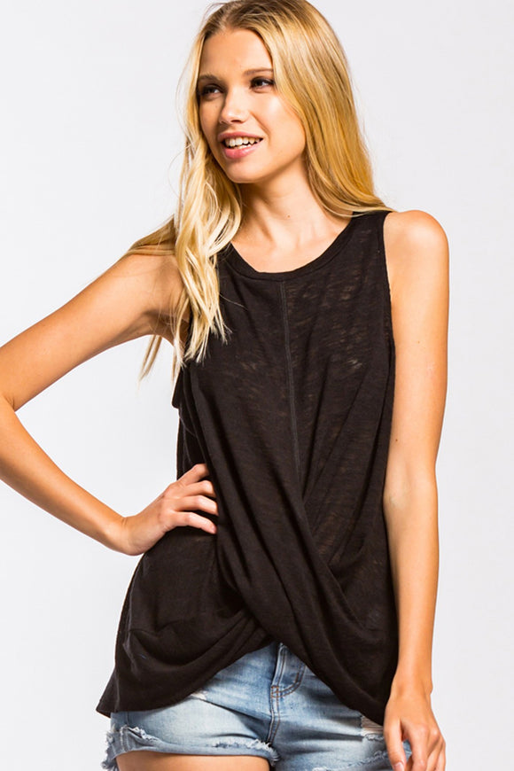 Troup Twisted Front Tank Top [Black]