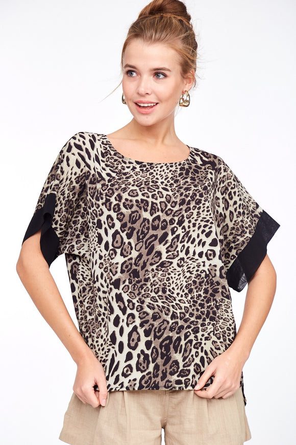 Shepard Snow Leopard Printed Top