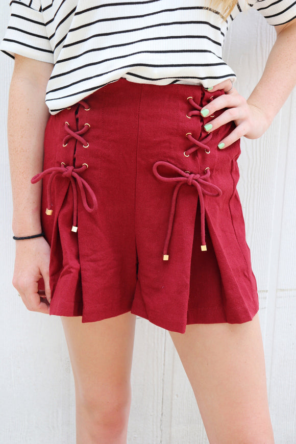 Leander Lace Up Front Shorts