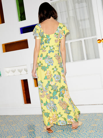 Petra Yellow Printed Maxi Dress by KITRI Studio