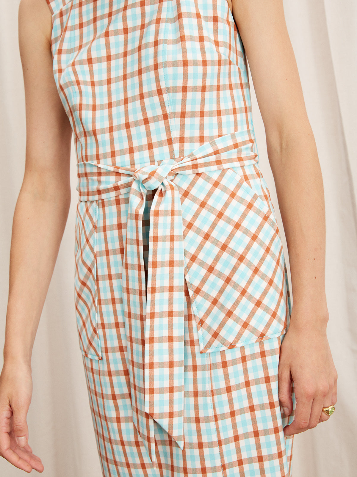 Sera Check Pinafore Midi Dress by KITRI Studio