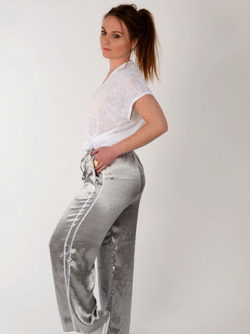 Grey Satin Sport Stripe Trousers - Capsuleight
