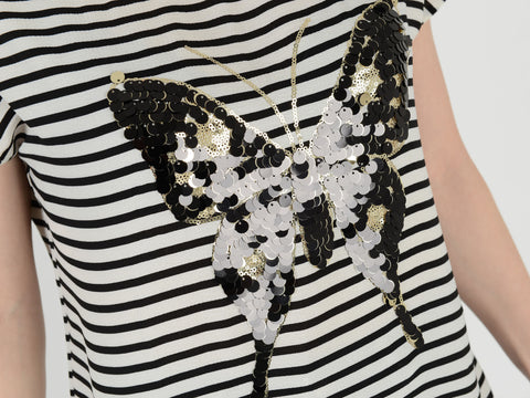 Black/White Diamante Butterfly Top - Capsuleight