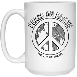 Peace on Earth 15oz Mug - The Art Of Travel Store: Travel Accessories and Travel T-Shirts