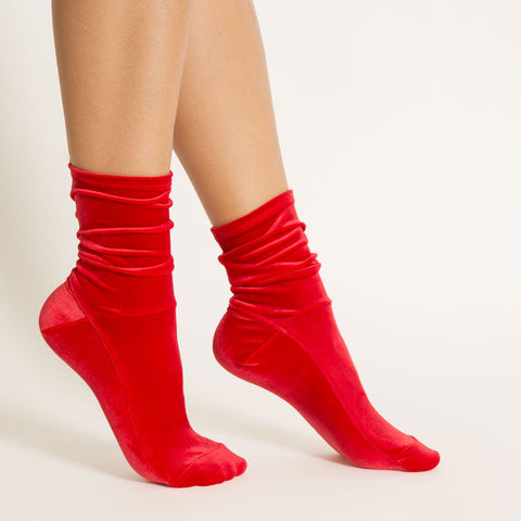 Man Repeller x Darner for NET-A-PORTER Red Bandana Velvet Socks - Darner Socks