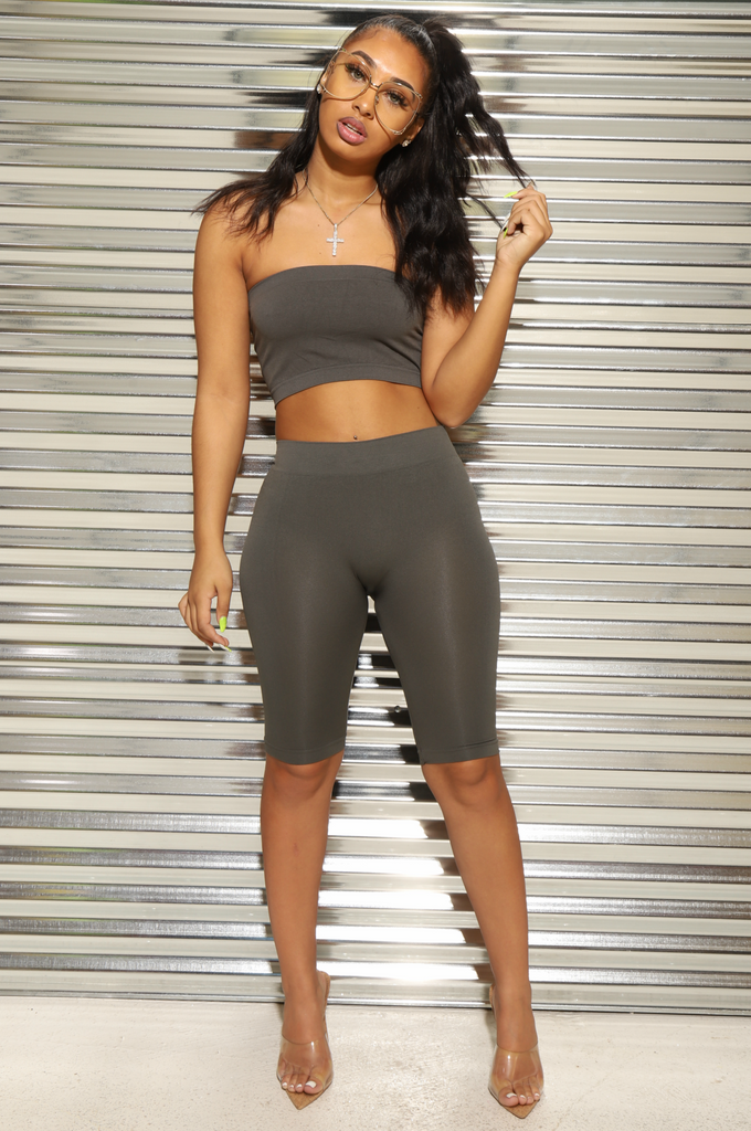 Coolin' Biker Short Set - Charcoal Grey - Swank A Posh