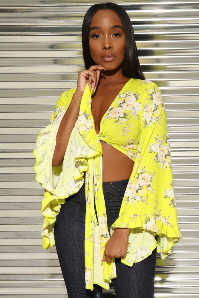 Blossom Yellow Floral Bell Sleeve Crop - Swank A Posh