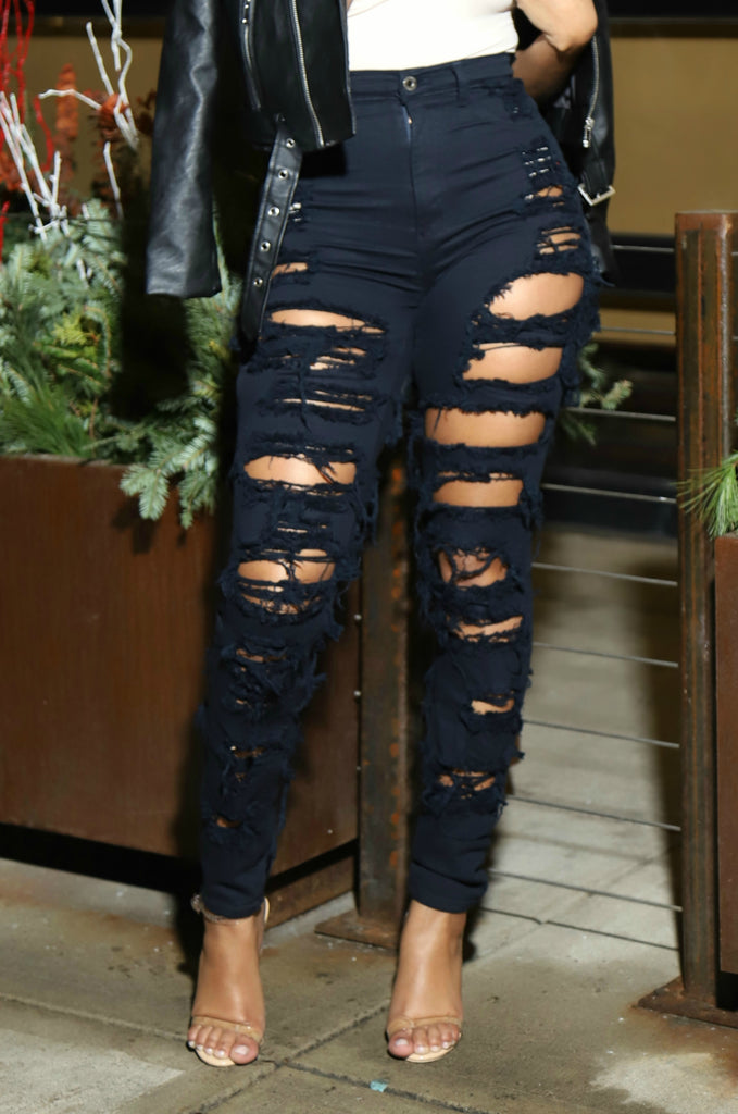 Unknown Navy Blue Distressed High Rise Jeans - Swank A Posh