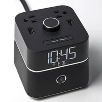 CubieBlue Alarm Clock with Bluetooth Speaker 2 Extra Power Outlets and USB Ports