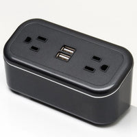 Mini Tabletop Power Cube with 2 Power Outlets and 2 USB Ports