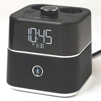 EU CubieBlue Alarm Clock with Bluetooth Speaker 2 Extra Power Outlets and USB Ports | GuestOutfitters.com