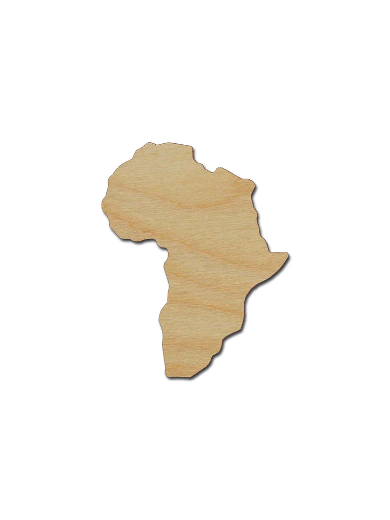 Africa Country Shape Unfinished Wood Cutout Variety of Sizes