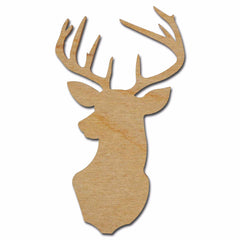 Deer Buck Mount Shape Unfinished Wood Cut Out Variety of Sizes