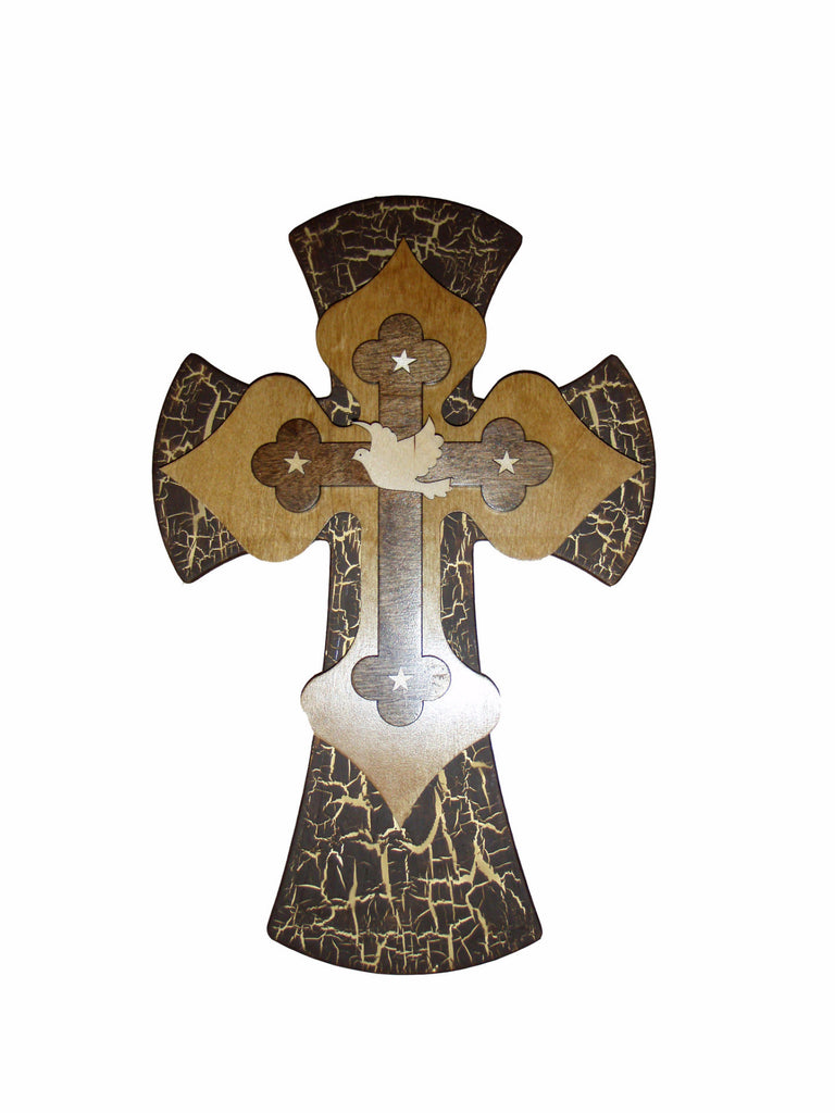 "Dove Cross Decorative Wooden Layered Wall Crosses 15"" Inch Tall Artistic Craft Supply"