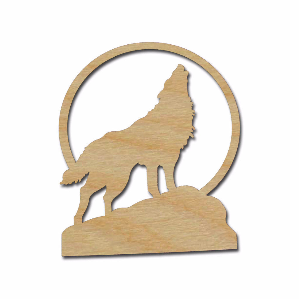 Howling Wolf Unfinished Howl At The Moon Cutout Variety of Sizes